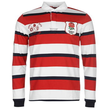 RFU England Heritage Long Sleeve Rugby Jersey Mens - Red/Navy/White - 0016